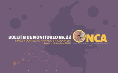 Boletín de monitoreo N°. 22: Niñez y conflicto armado en Colombia – Edición especial.