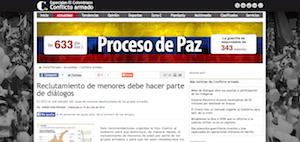 Reclutamiento de menores debe hacer parte de diálogos (El Colombiano).